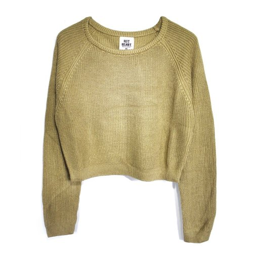 Hot Heart short version belly exposed sand-colored sweater
