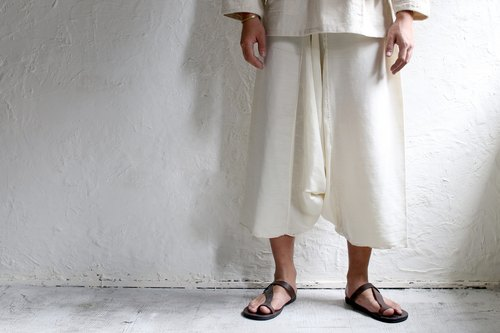 Omake chestnut family nine points wide pants (white)