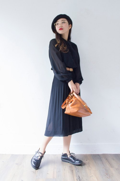 Banana cat. Banana Cats black lines carved lace collar shape caught off a fine vintage skirt long-sleeved dress