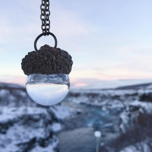 Acorn crystal ball Necklace
