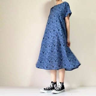 Cats' flare dress dress cotton dark blue color