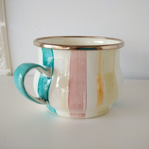 Color Striped Enamel Cup | 400ml | Teacup | Coffee Cup | Free Christmas Packaging