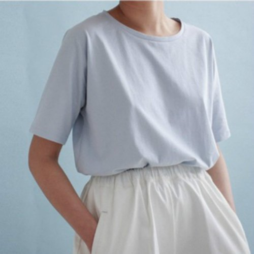 Sold out does not help Babe Blue Tee Tee interpolation Shoulder SONGXIA day less necessary please grab series | Fan Tata independent design Women