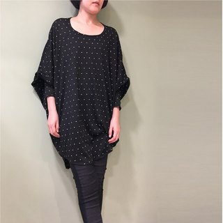 【Top】 Great Circle Design Long Sleeve Tunic _Black Dots