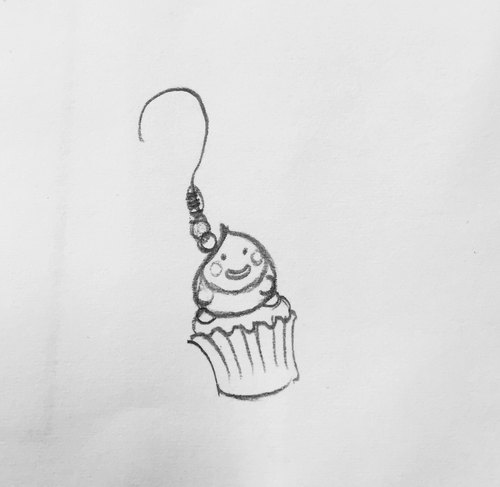 Xin Lun made a cup of cake earrings