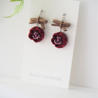 Cute bow and Burgundy Flower Drop Earrings Clip-on 14KGF, S925 custom