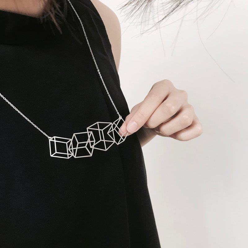∎ Four little Illusion box Necklace ∎ Silver Necklace