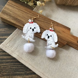 Littdlework Hand Embroidered Earrings | Fluff ball Maltese <925 sliver>