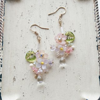 Momolico peach lily earrings elegant small bouquet drop can be changed