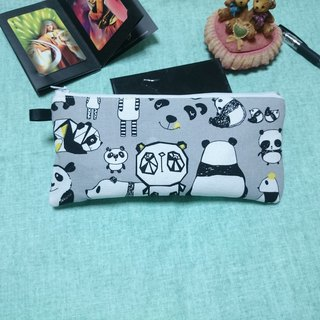 Gray bottom panda pen bag / storage bag universal bag pencil case cosmetic bag*SK*