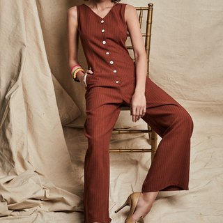 Grace Button Down Jumpsuit with Welt Pockets
