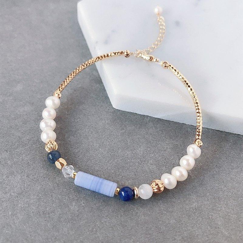 淡淡粉藍圓柱 珍珠 藍紋石 月光石 天然石 手鍊 好朋友 生日禮物