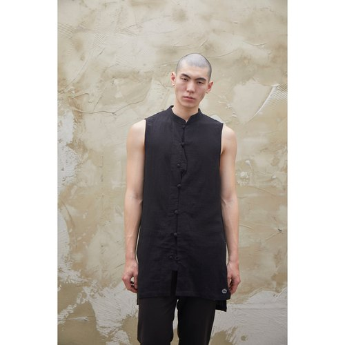 [WINDS] plate buttons cotton vest Long