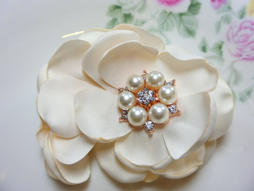 Hand burning circular clip flower hairpin -M00302-4