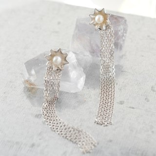 Star pearl chain pierce 2 way / silver 925 /