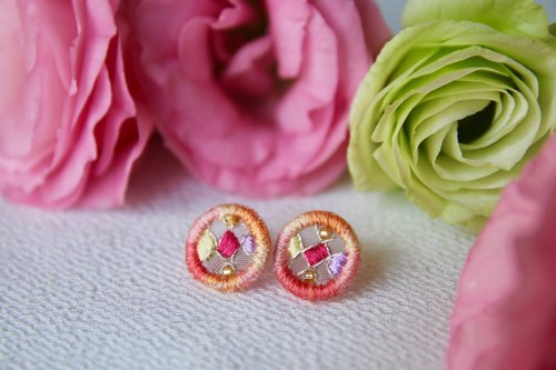 Handmade round pink orange gradient embroidery earrings