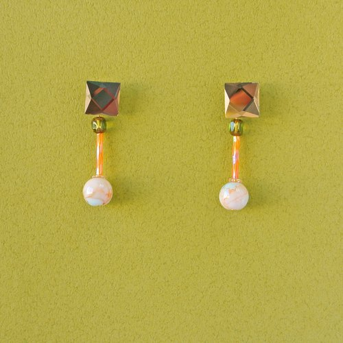 Marble Marble / Marble Texture Glass Earrings Two Earrings / Earrings (EM008)
