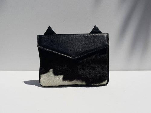 Ready To Ship / Clutch Bag / Genuine Leather Clutch Bag / Cow Hair Leather Clutch / Handmade Clutch Bag / Cat Clutch Bag / iPAD Mini Bag