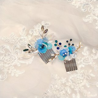 Wear a happy decoration Jiao Ruo Chunhua series - the bride comb. French comb. Wedding buffet - combination of blue