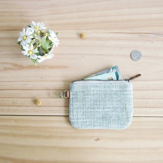 Coin Purses  with Key Chain Hand-woven and Botanical dyed Cotton Green Color