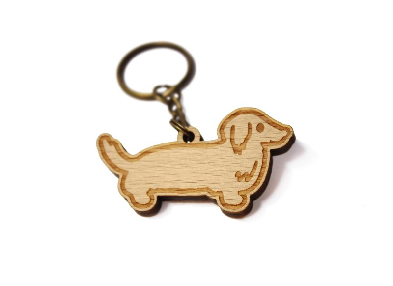 Dachshund / intestinal intestinal / wool children / wooden / timber key ring / gift / customized