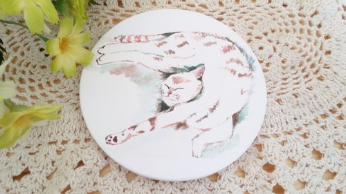 Yingge ceramic absorbent cup - cat sleep series. Sleepy