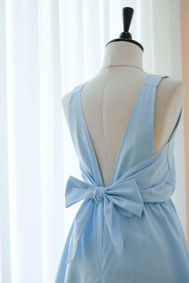 寶貝藍色連衣裙伴娘禮服露背派對雞尾酒短禮服