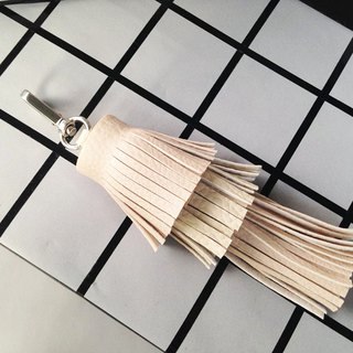 Triple Tassel Keychain Cream Color