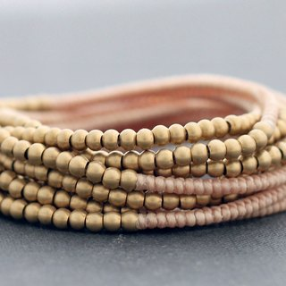 Wrap Bracelets Woven Beaded Nude Cream Bare Raw Brass Adjustable