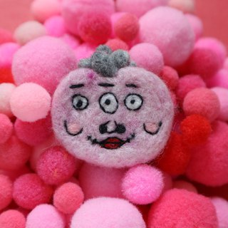 Three eyes pink ugly-like wool felt brooch
