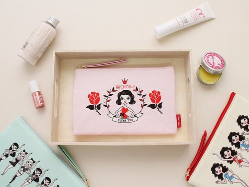 With Alice / Cotton slim pouch M ver.2_Pink elena