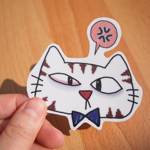 Waterproof stickers - cat angry