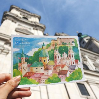 Rami European travel watercolor hand drawn wind postcard - Salzburg Austria