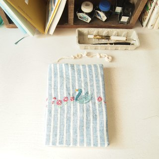 Hume swan embroidery A5 cotton and linen book