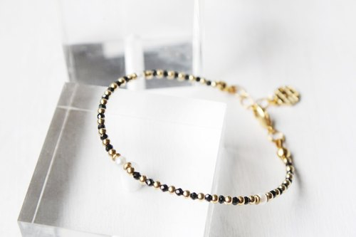 【JULY-birthstone-Spinel】Spinel & pearl design bracelet (adjustable)