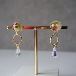 Pressed Flower and Leaf Earrings with Swarovski Crystals