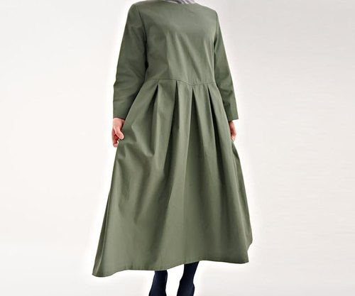 Exposing base high-density cotton waist tuck dress / spinach Green a13-42