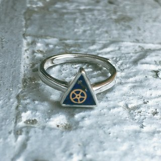 Frozen Time | Plating 925 silver Blue Rose Rings (Triangle)