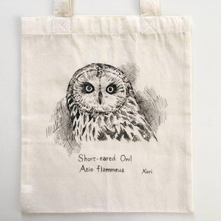 Pure hand-painted bird cotton shopping bag ‧ short eared