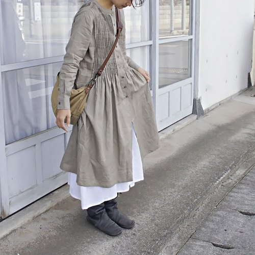 36size ★ Discharge ★ 【armoire *】 Thin linen 100% Pin Tuck Long Sleeve Shirt One Piece * Linen 100% Pin Tuck Long Sleeve Shirt Dress