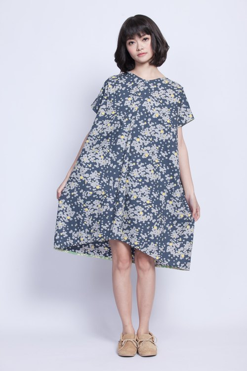 Woodcut garden dress _ stream _ clusters fair trade