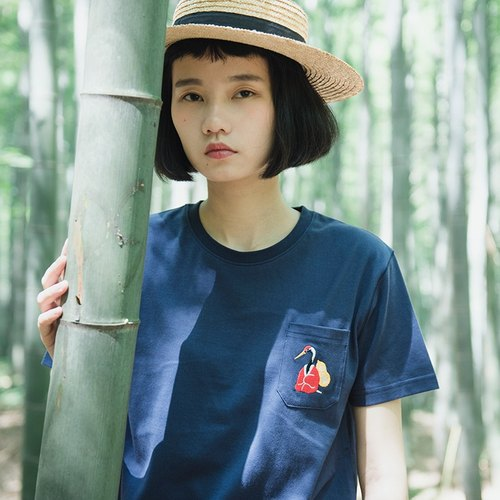 SYAO / classic hermit Crane embroidery T-shirt short-sleeved cotton