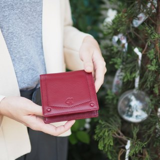 Hannah (Burgundy) : Small leather short wallet, folded wallet
