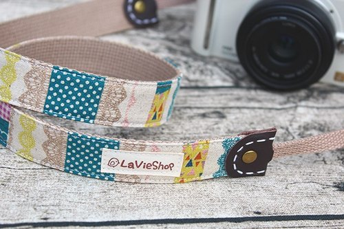 【LaVieShop*Handmade】Elegant lace X Colorful Masking tape (Aquamarine blue ).25mm Handmade Camera strap.GF/NEX/DLSR/M43.Customizable