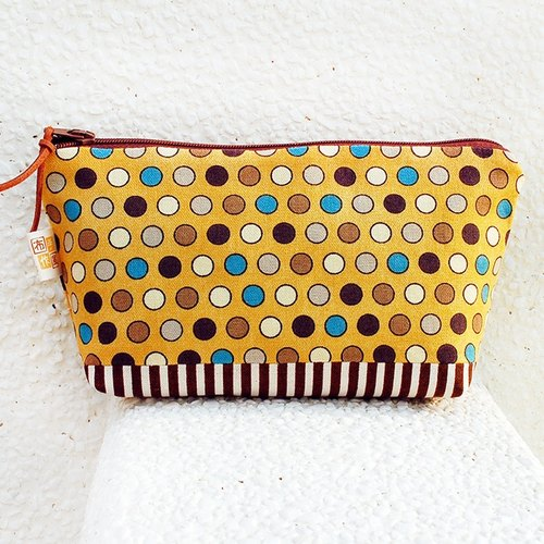 Large color dot pouch / large pocket bag bag