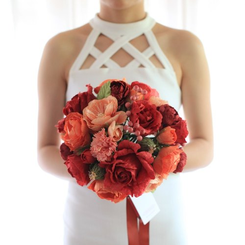 MB312 : Bridal Wedding Bouquet, Prosperous Red