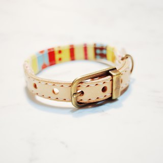 Dog & Cats collars, S size, Colorful stripe with cute print