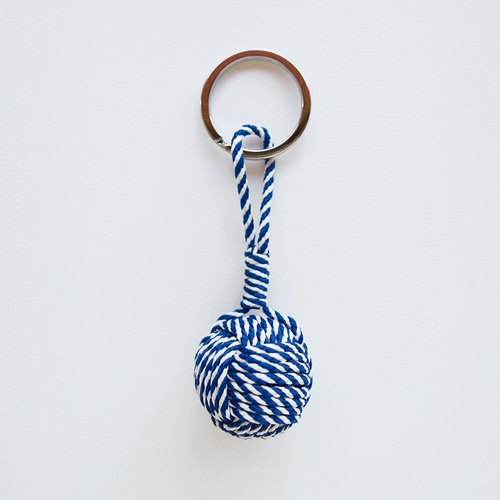 Handmade monkey boxing sailor knot key ring pendant package hanging blue and white lines