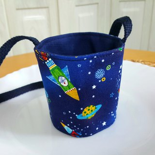 Flying to the universe, Japan imported cotton ~ environmentally friendly portable bag / green cup / drink cup set