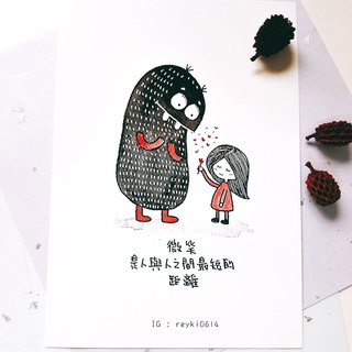 Reyki Hand-painted Resonance Quotations Illustration Postcard / Smile